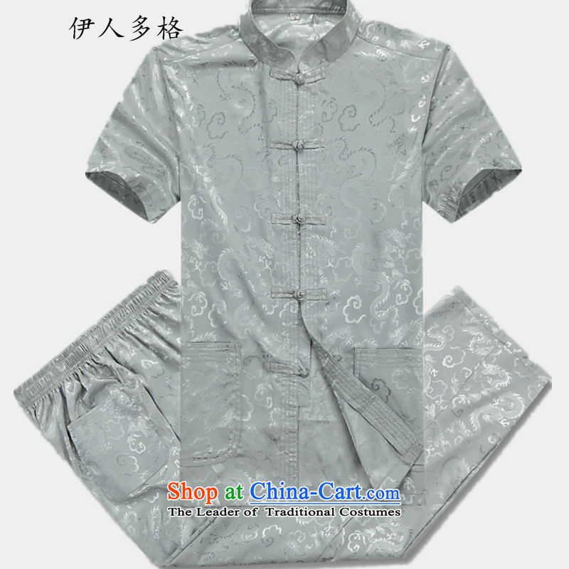 The Mai-Mai multi-    year 2015 men Tang dynasty short-sleeved T-shirt, older men summer uniforms Tang Tang dynasty short-sleeve male and half sleeveless shirt XL light gray Kit 180