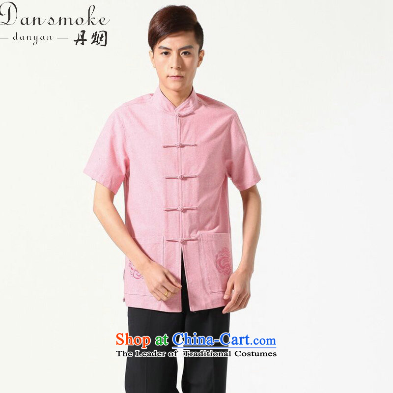 Dan smoke original male Tang dynasty summer new Chinese clothing collar cotton linen Comfort Men leisure short-sleeved shirt Tang dynasty picture color L
