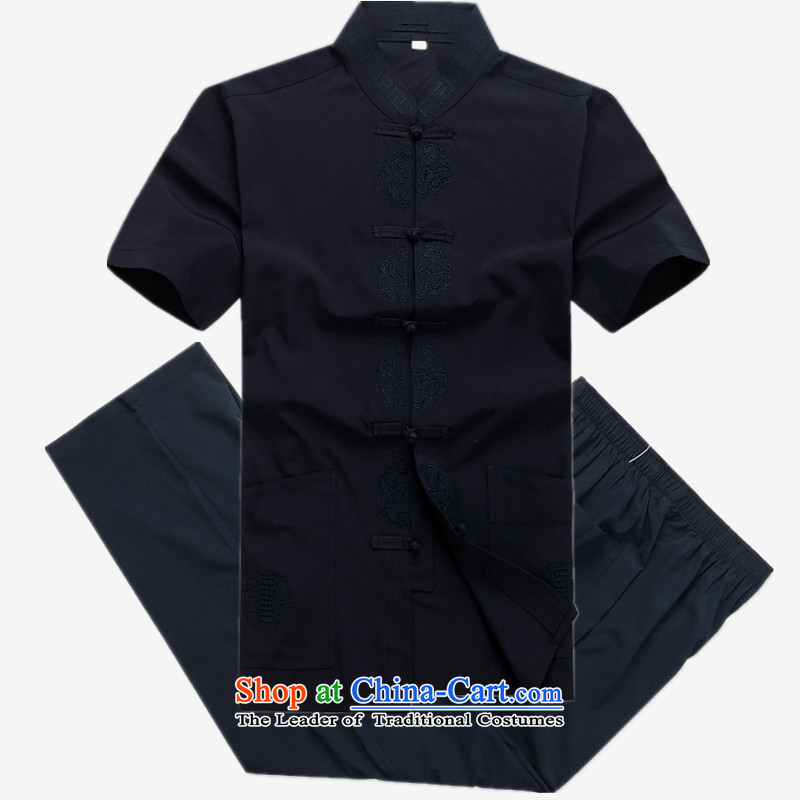 The Mai-Mai multiple cells?    in 2015 Tang dynasty older men and short-sleeved T-shirt Tang Dynasty Chinese summer men Tang Dynasty Han-Menswear Dark Blue Kit?175