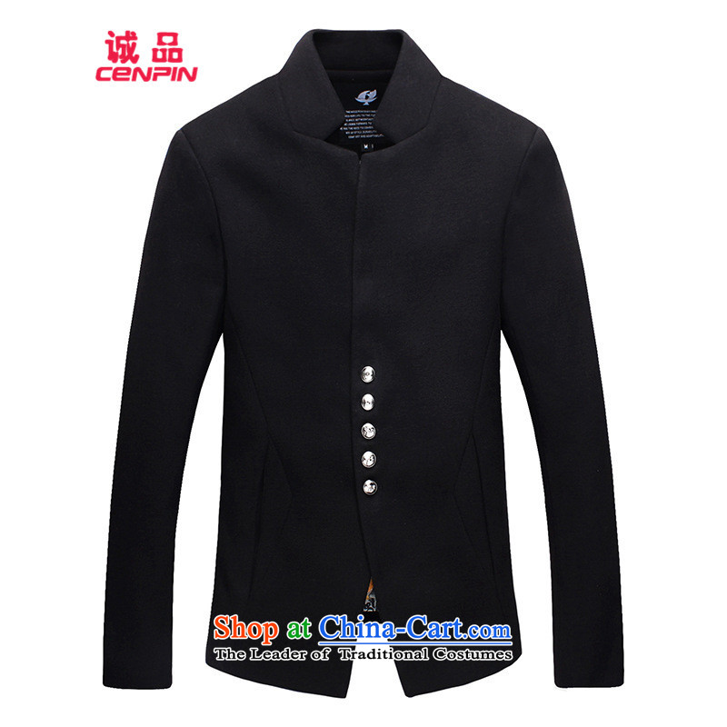 Eslite men's jackets for autumn and winter by Men's Mock-Neck Sau San Jacket coat 811 black L