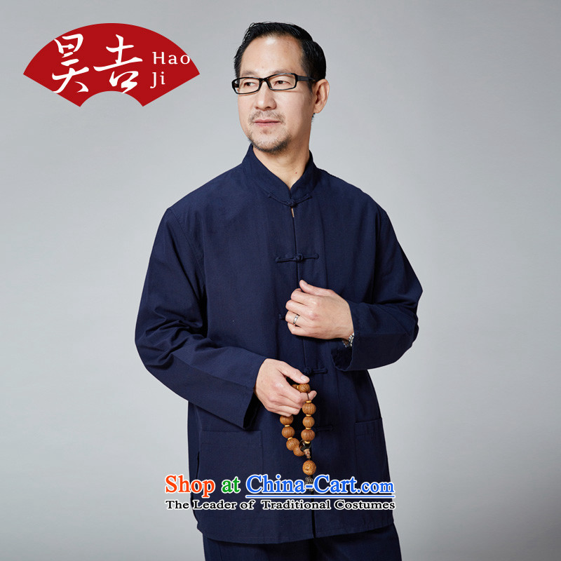 Ho Kyrgyzstan and elderly men new Tang dynasty spring and summer pure cotton long-sleeved tray clip collar Chinese China wind load father Father Blue?170