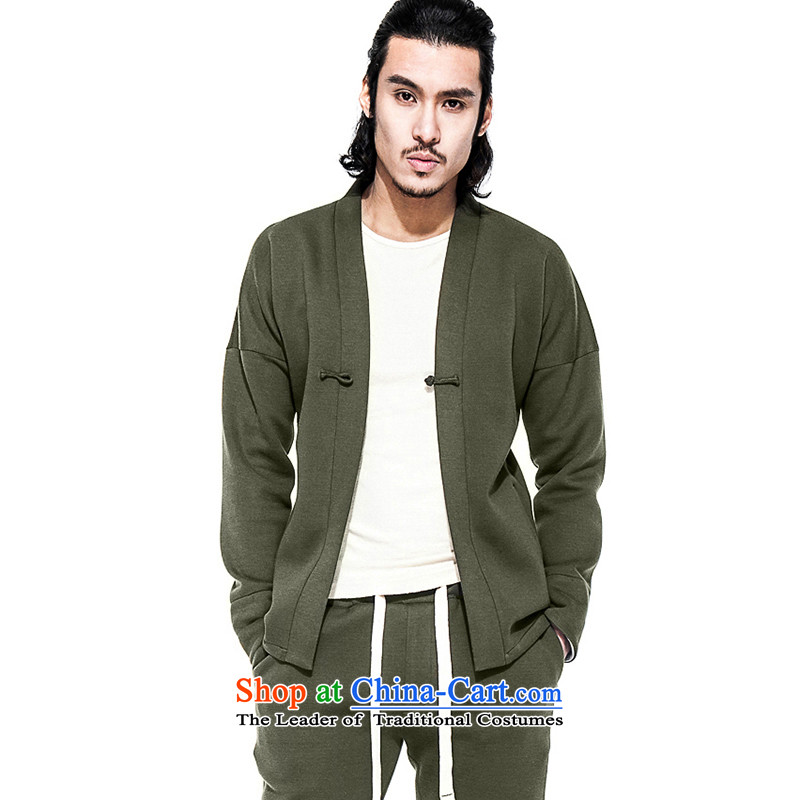 Seventy-tang China wind air layer men improved Han-tray clip Chinese Jacket Sport and leisure Tang blouses retro army green�XL�7 days of pre-sale