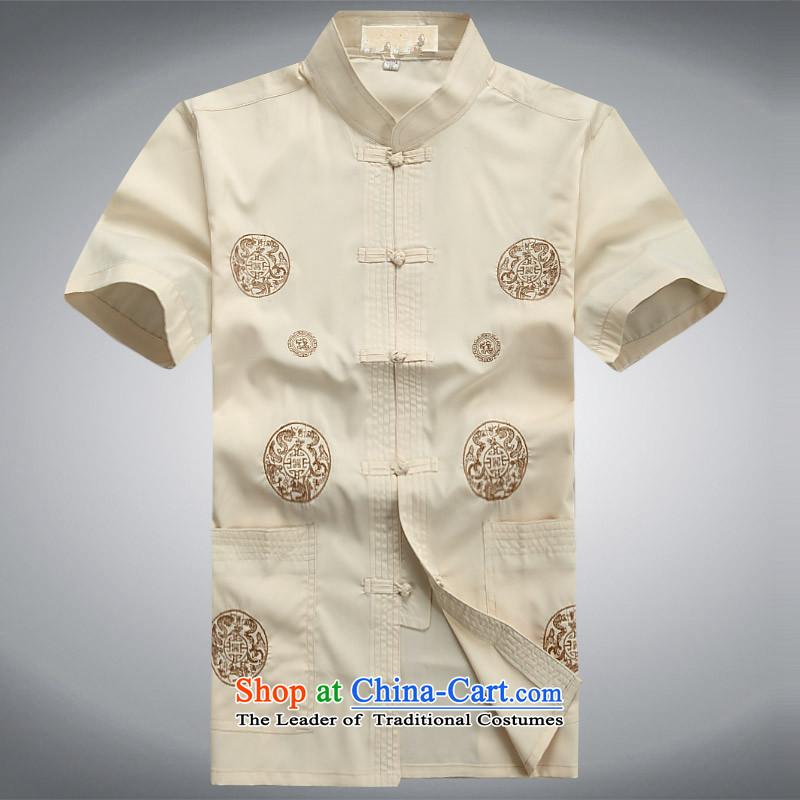 The Mai-Mai multi-�  summer 2015 new men of older persons in the Tang Dynasty Package short-sleeved shirts tray snap short father Boxed Kit�0 Beige