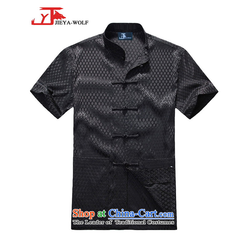 - Wolf JIEYA-WOLF, Tang dynasty men's short-sleeved summer need of solid color silk shirts men Tang dynasty short-sleeved shirt�190/XXXL black