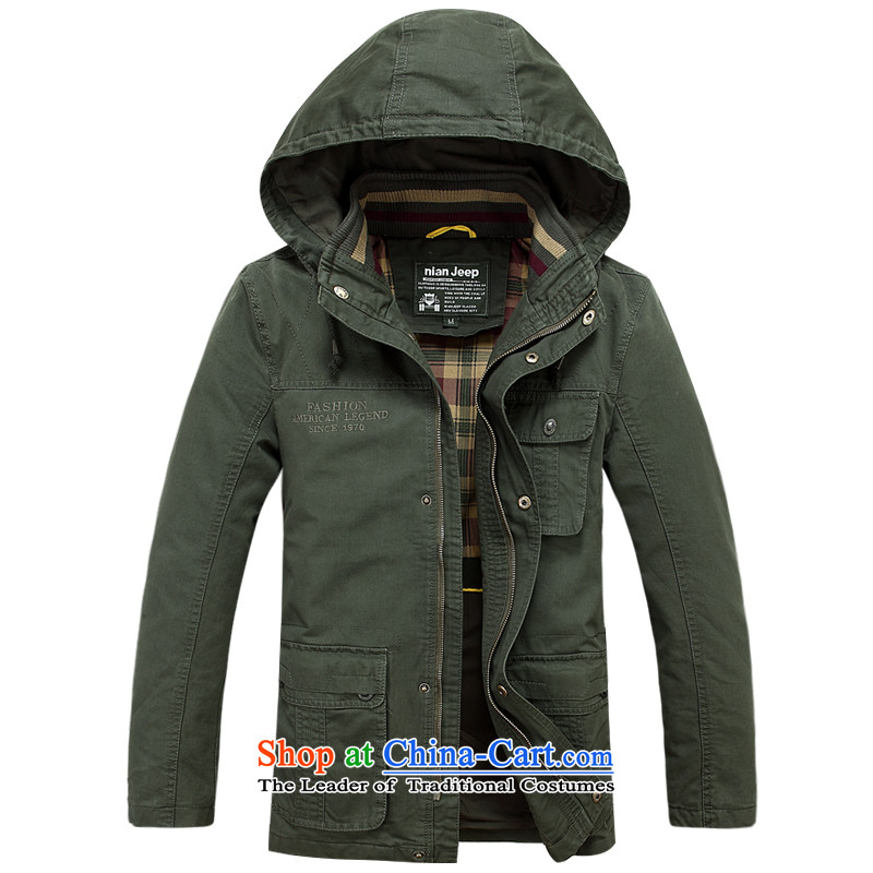 Jeep Shield 2015 men washable military jacket men in long cap jacket D6807 Army Green燲L