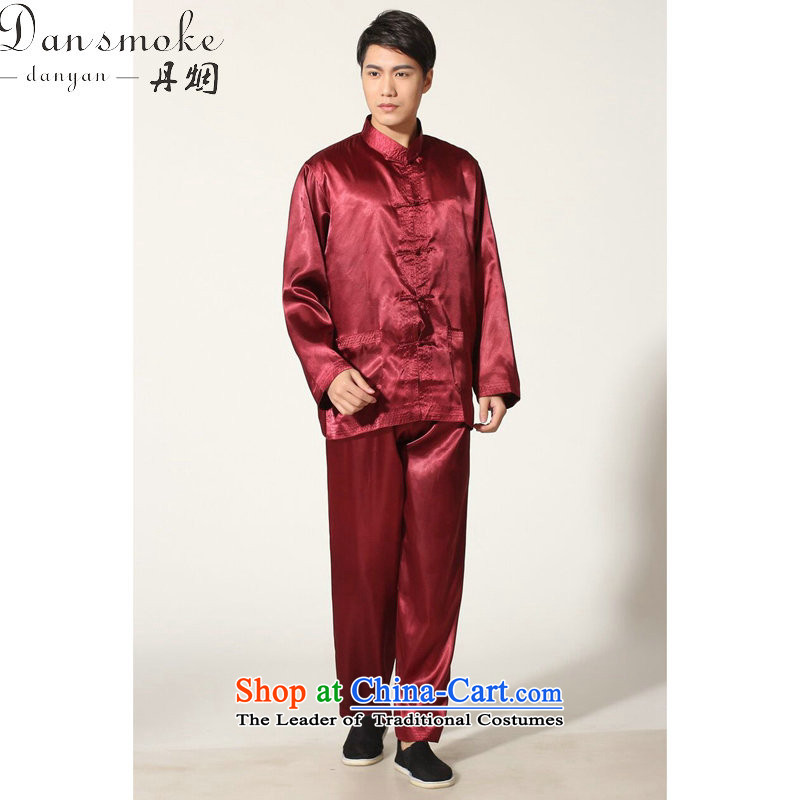 Dan smoke men Tang Gown damask Tai Chi Kung Fu Chinese shirt serving ethnic collar long-sleeved comfortable trousers men kit magenta聽M