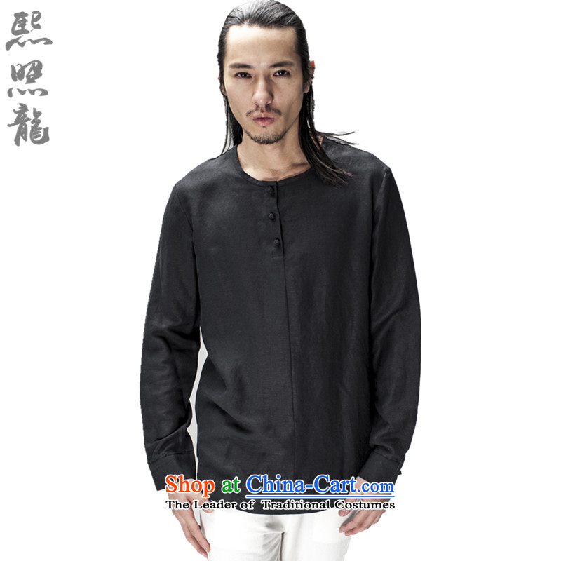 Hee-snapshot lung original innovative Chinese long-sleeved Pullover no neck shirt men loose ramie blended thin black shirt drape燲L