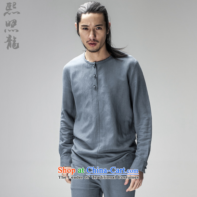 Hee-snapshot lung original innovative Chinese long-sleeved Pullover no neck shirt men loose ramie blended thin black shirt drape聽XL, Hee-snapshot (XZAOLONG lung) , , , shopping on the Internet