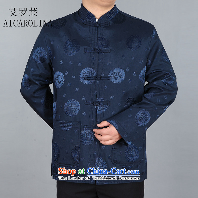 Hiv Rollet load spring and autumn men of older persons in the Tang dynasty elderly men's Chinese Jacket Dark Blue?M