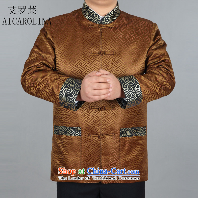 Hiv Rollet spring in older men Tang dynasty long-sleeved clothes Chinese ceremony China Wind Jacket gold XXXL Clothing