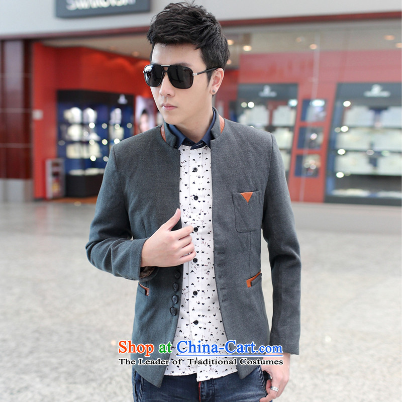 2015 male and leisure Mock-neck Korean small business suit X10 Gray?L