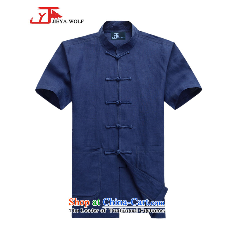 - Wolf JIEYA-WOLF, New Package Tang dynasty men's summer short-sleeved pure pure color minimalist Kit, China wind men's shirts blue聽190_XXXL set