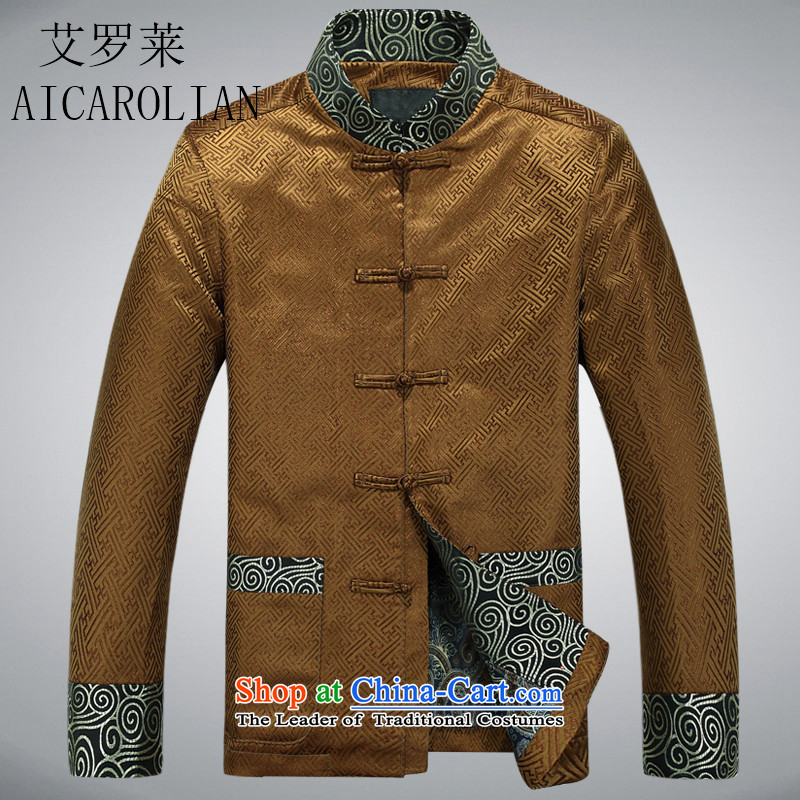 Hiv Rollet 2015 Tang Dynasty Chinese jacket new middle-aged father shirt jacket gold聽M