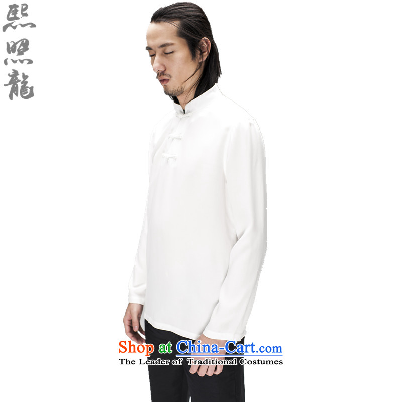 Hee-snapshot lung original spring and summer New Men Chinese long-sleeved men Tang kit and a mock-neck Breathable white T-shirt, forming the leisure燬