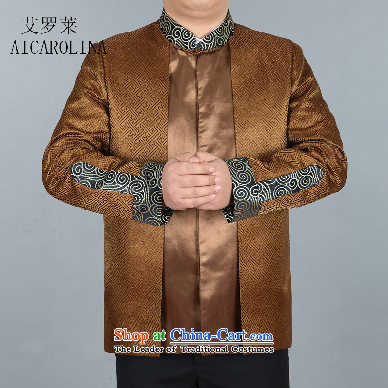 Hiv Rollet Spring New Men Tang long-sleeved shirt with China wind Men's Jackets Chinese Gold T-shirt聽XL
