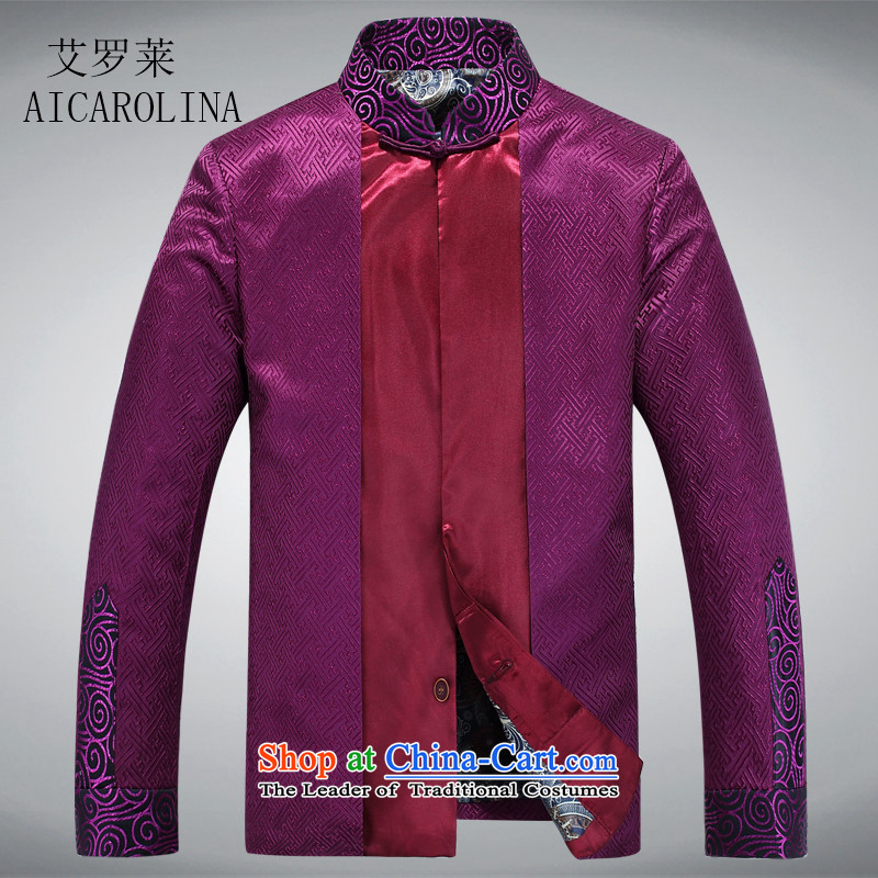 Hiv Rollet men's spring loaded tang of older persons in the T-shirt men during the spring and autumn jackets purple?XL