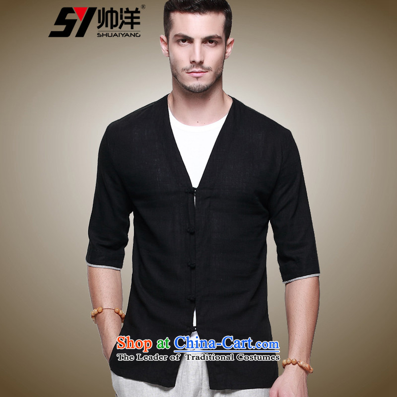 The new ocean shuai linen men short-sleeved shirt Tang dynasty national costumes summer China wind Sau San disk detained Chinese men's shirts V-neck blouse with two men micro pop-men and short-sleeved black�_175