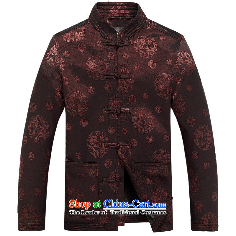 Bosnia and 15 new spring and autumn thre in older men long-sleeved jacket jacket Chinese Tang collar round Dragon Loaded male shirt F8025 TANG聽XL_180 Brown