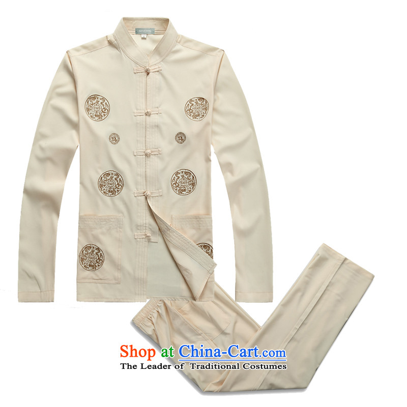 2015 Spring/Summer in new elderly men ) Long-sleeved Tang Dynasty Package Homewear Taegeuk Services China wind men long-sleeved Tang dynasty father replacing XXXL/190 Beige