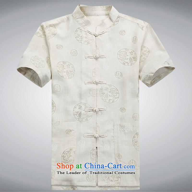 Charlene Choi this summer pavilion in short-sleeved elderly men casual Tang dynasty kung fu replacing packaged relaxd fit father exercise clothing collar disc ties - New Ma round dragon white short-sleeved?4XL