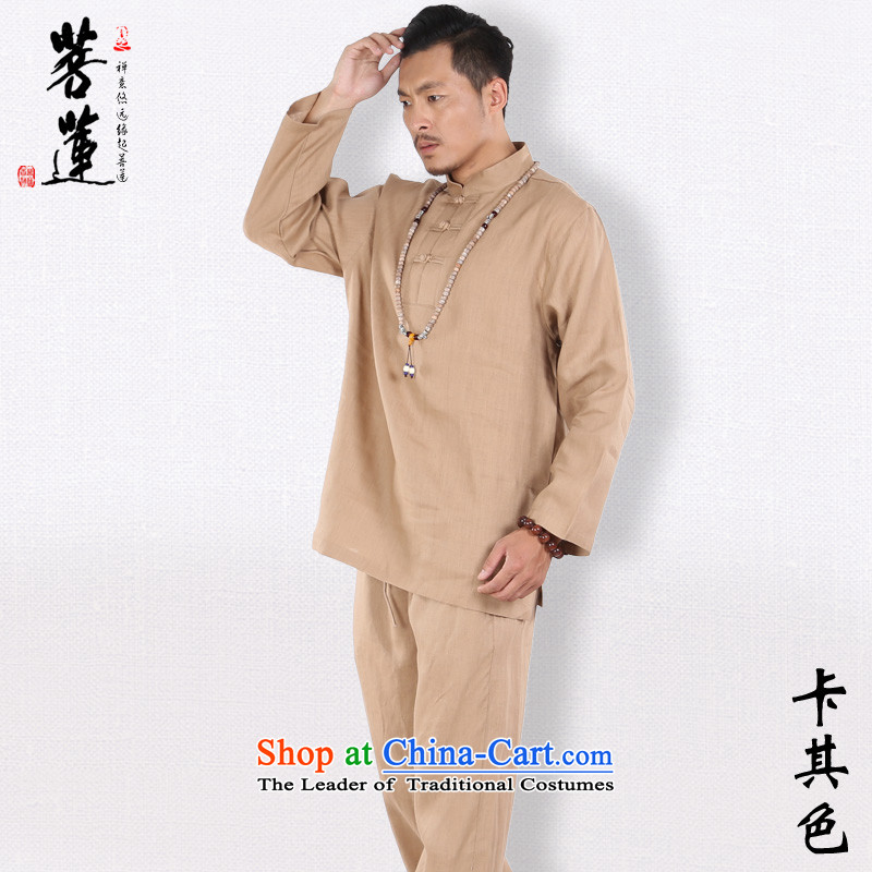 The pursuit of pure linen men in spring and autumn Lin, long-sleeved Tang dynasty China wind for meditation ball yoga services meditation services khaki?XL