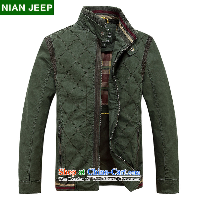 Jeep Shield 2015 men stitching Washed Cotton coat D6803 leisure Army Green?XL