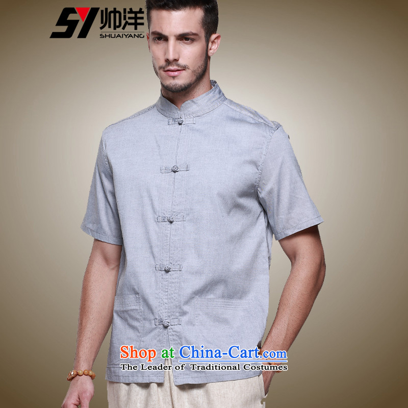 The new ocean handsome men Tang dynasty short-sleeved cotton China wind men's shirts collar disc detained men summer Chinese shirt ma gray聽39_165