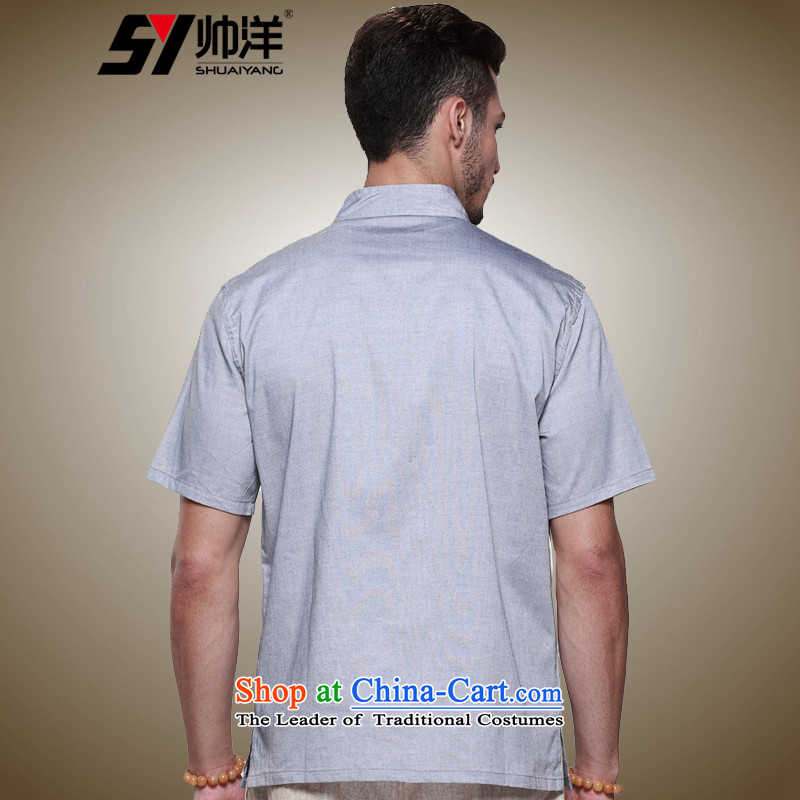 The new ocean handsome men Tang dynasty short-sleeved cotton China wind men's shirts collar disc detained men summer Chinese shirt ma gray聽39/165, Shuai Yang (SHUAIYANG shopping on the Internet has been pressed.)