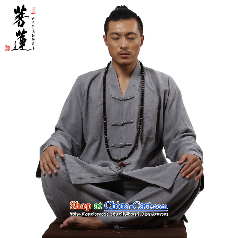 On Lin Zen men of ramie cotton linen spring and autumn meditation renunciates tray clip mounted ball-short service service kit meditation light gray�M