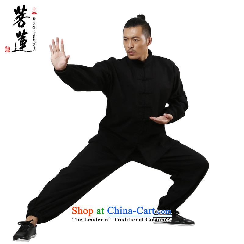 On the Lotus Flex-cotton thick plus lint-free warm autumn and winter, tai chi services practice of men and women at the retreat at the room service martial arts Black�XL