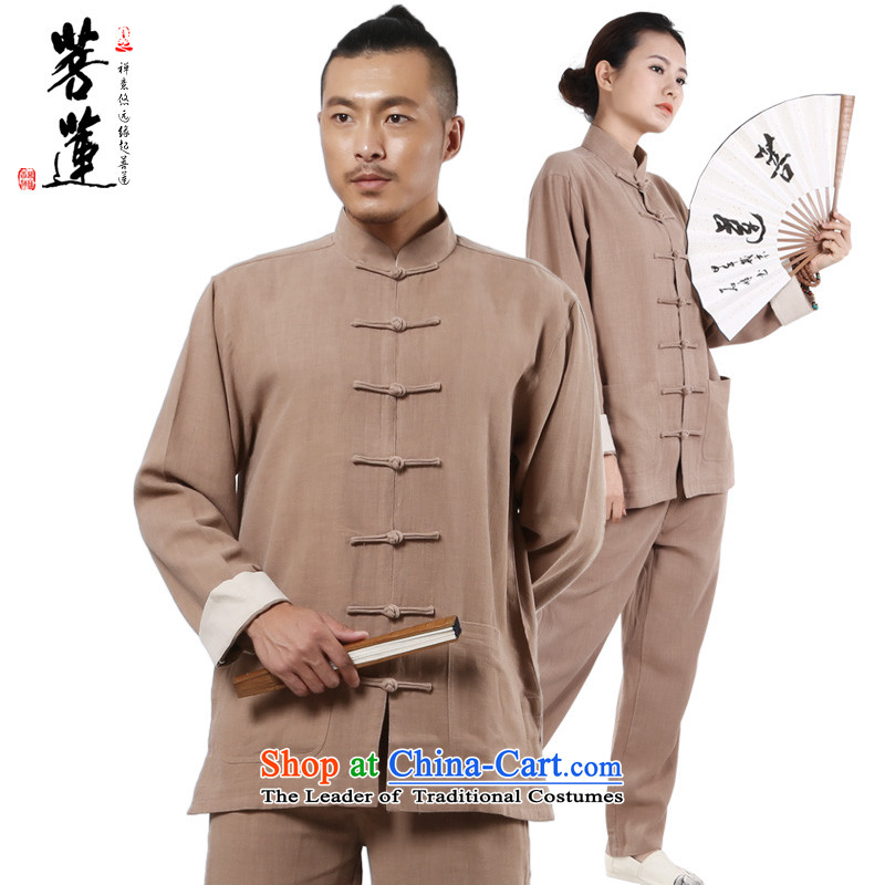 On Lin Zen ramie cotton linen, meditation ball-men and women serving China wind up detained national Tang leisure yoga services khaki?XL