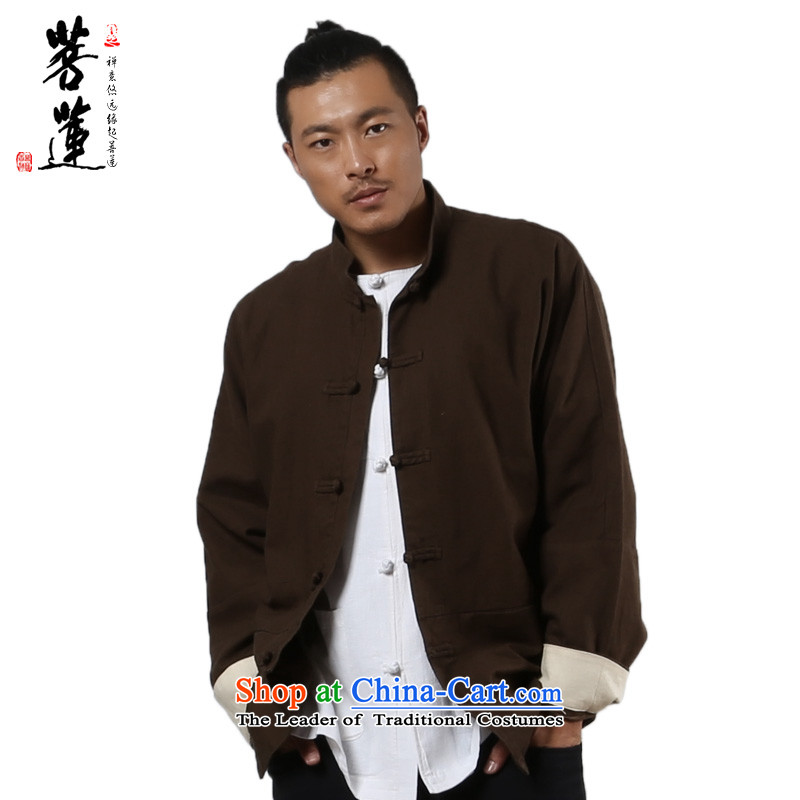 On Lin Yi cotton linen Zen meditation ball hemp jacket/men fall and winter mine-clip Flex-cotton Tang dynasty China wind Brown�M