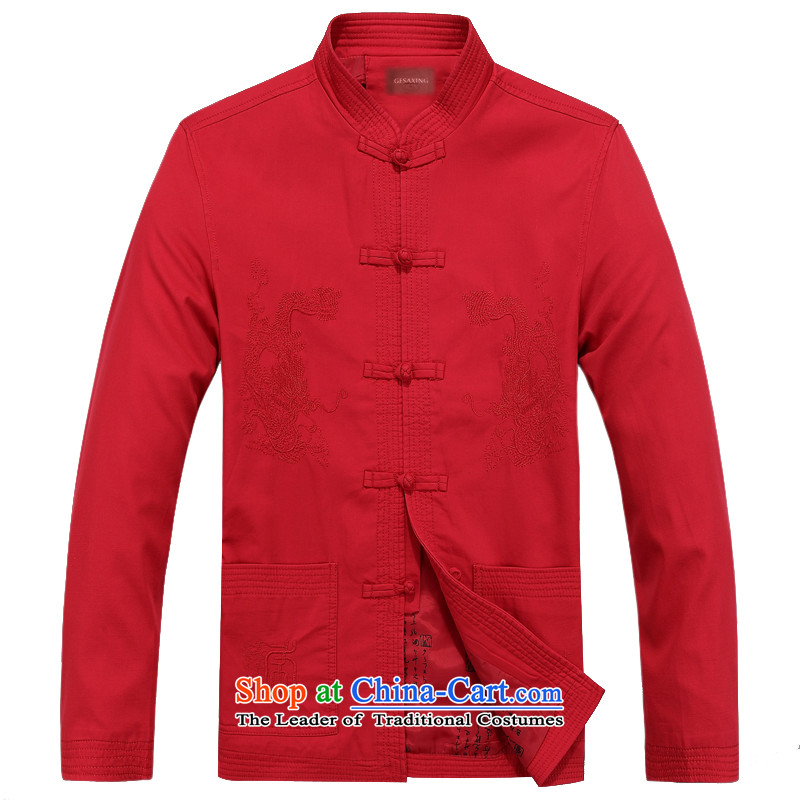 Bosnia and the elderly in the line thre new autumn and winter pure cotton long-sleeved tray clip collar Tang dynasty China wind men embroidery Double Dragon Chinese father Han-grandfather replacing ?Tò??L_175 red