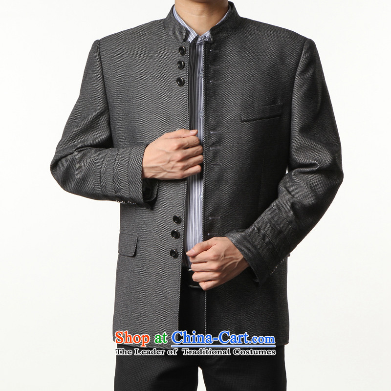 Kim, the men's leisure-ho Chinese tunic suit the Chinese Tang dynasty collar Spring and Autumn Chinese tunic male jacket Sau San black and gray?185_52 for about 170