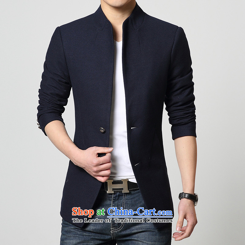 Mrs Rafael Hui Carter聽new spring and autumn 2015 replacing boys Korean Sau San collar single row detained men Chinese tunic stylish jacket coat blue聽XL