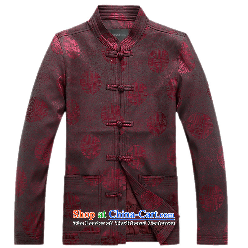 In the spring and autumn 2015 new elderly men long-sleeved jacket Tang millennium a mock-neck disc detained men Chinese chestnut�XXL/185 Jacket