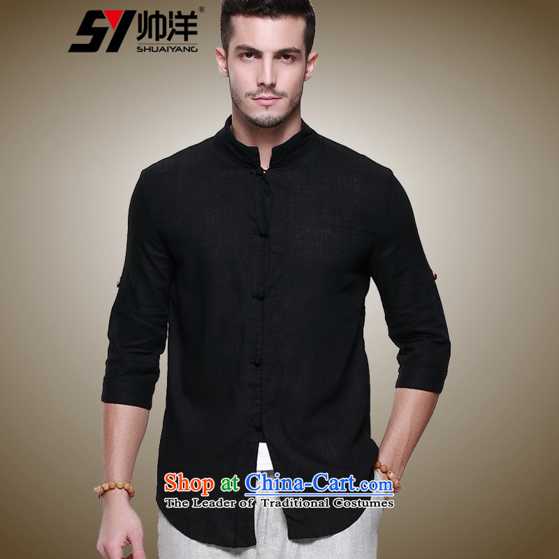 The new ocean shuai linen men Tang Dynasty Chinese Men's Shirt short-sleeved T-shirt China wind summer decorated in men's shirts, 7_black�_165_ men_ is too small a Sau San code_