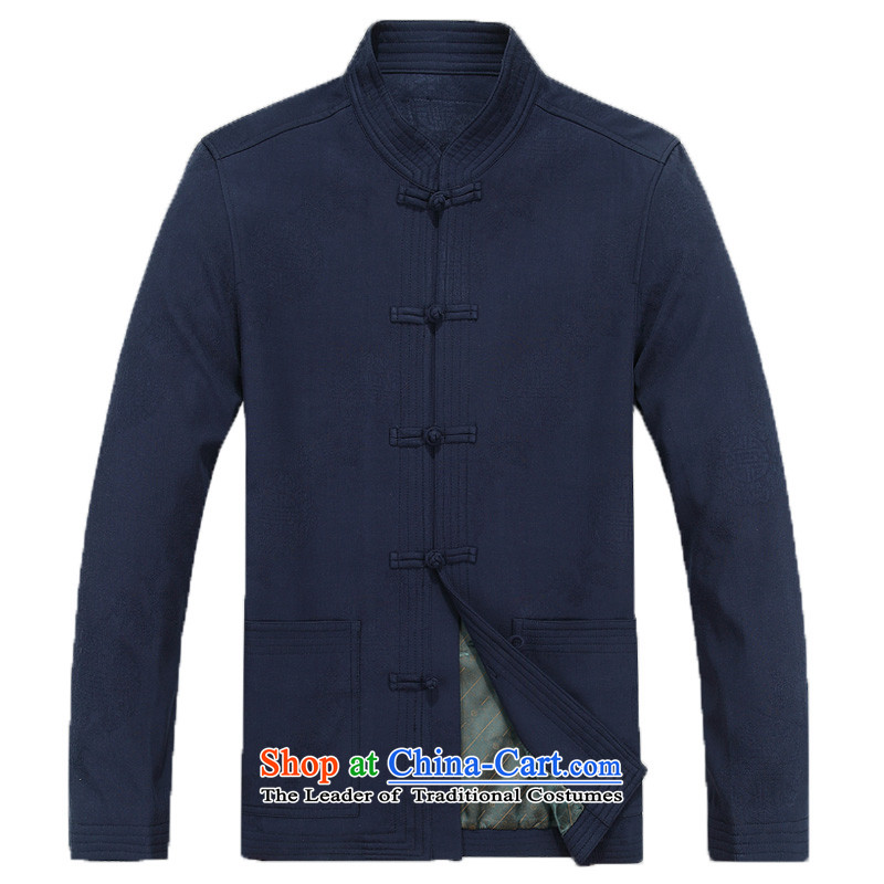 The New Man Chun Tang dynasty long-sleeved shirt, older men Tang dynasty disc older persons detained pure cotton Tang jackets men燺 round-F8801燲XXL_190 Dark Blue