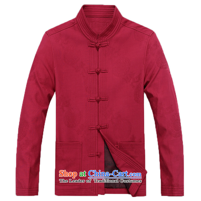 The New Man Chun Tang dynasty long-sleeved shirt, older men Tang dynasty disc older persons detained pure cotton Tang jackets men ) round-F8801 XXXL/190, dark blue line (gesaxing Bosnia and thre) , , , shopping on the Internet