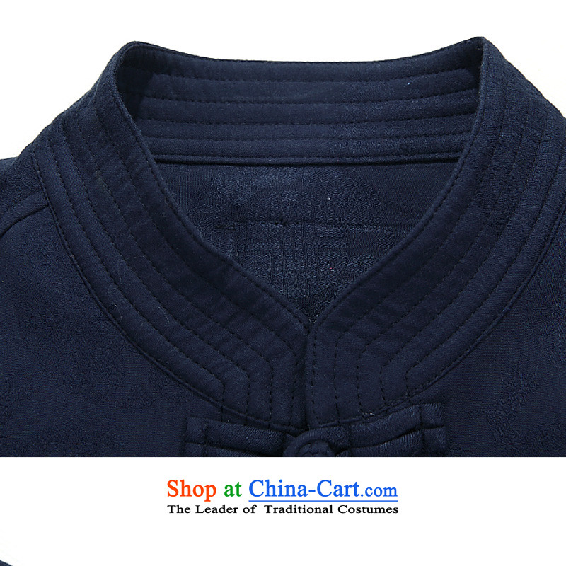 The New Man Chun Tang dynasty long-sleeved shirt, older men Tang dynasty disc older persons detained pure cotton Tang jackets men聽) round-F8801聽XXXL/190, dark blue line (gesaxing Bosnia and thre) , , , shopping on the Internet