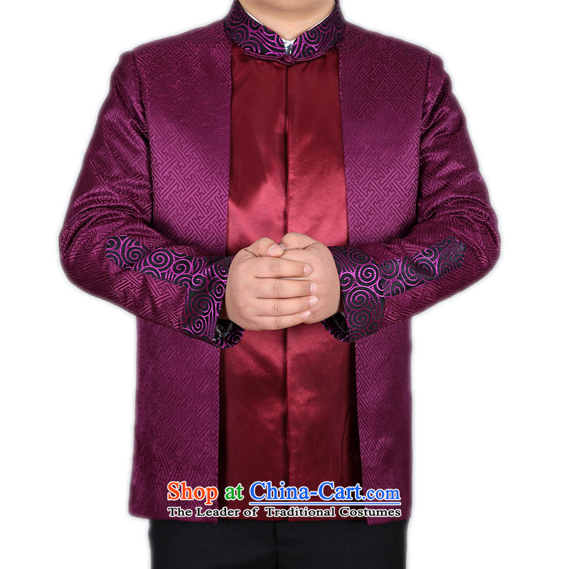 Bosnia and the new) thre older men jacket coat Tang dynasty during the spring and autumn) Men long-sleeved APEC Chinese ethnic Han-name will F88023 contemptuous of purple?L/175