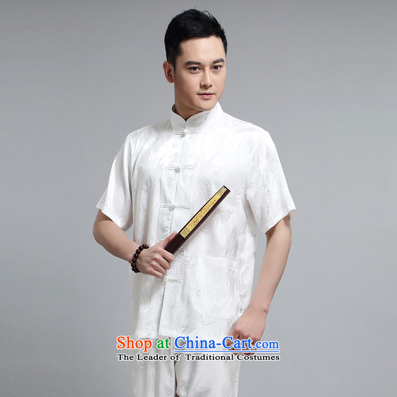 With the Chinese men Tang blouses 2015 Summer in Tang Dynasty older men and short-sleeve kit and Tang dynasty summer short-sleeved T-shirt White Kit L