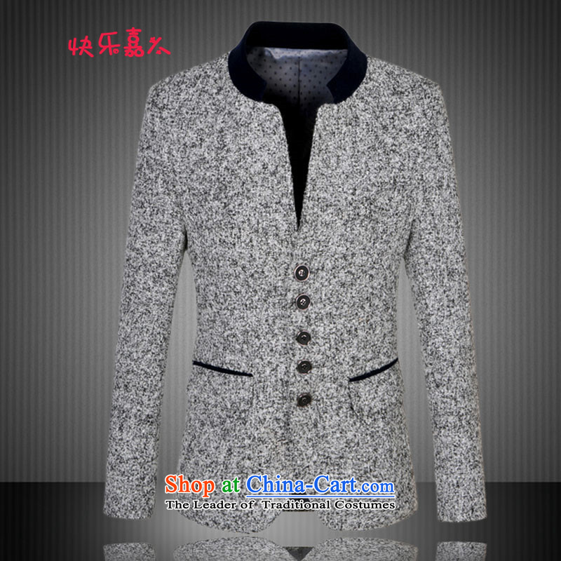 The Korean version of the west card Sau San collar larger suit male 9869 gray?XL
