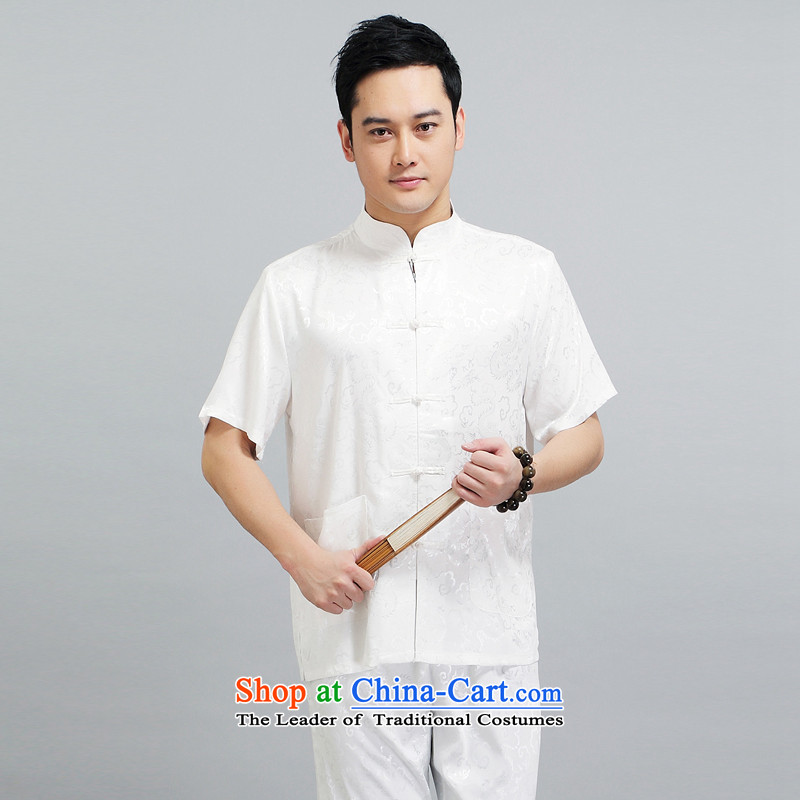 There is a property in the Chinese Tang dynasty Lung Men short-sleeved new dragon design Tang dynasty summer breathable T-shirt low national martial arts practitioners wearing a white T-shirt?L
