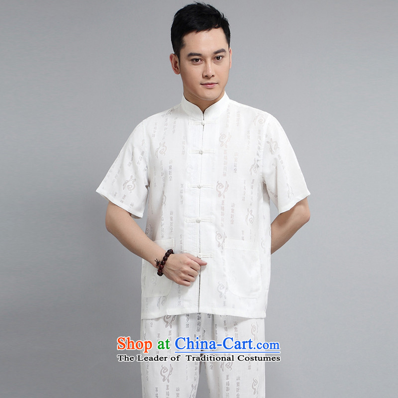 With the Chinese meditation service men and 2015 Summer Tang Dynasty Chinese Men's Mock-Neck Tang dynasty leisure short-sleeved retro large relaxd jogs service kit XXXXL White