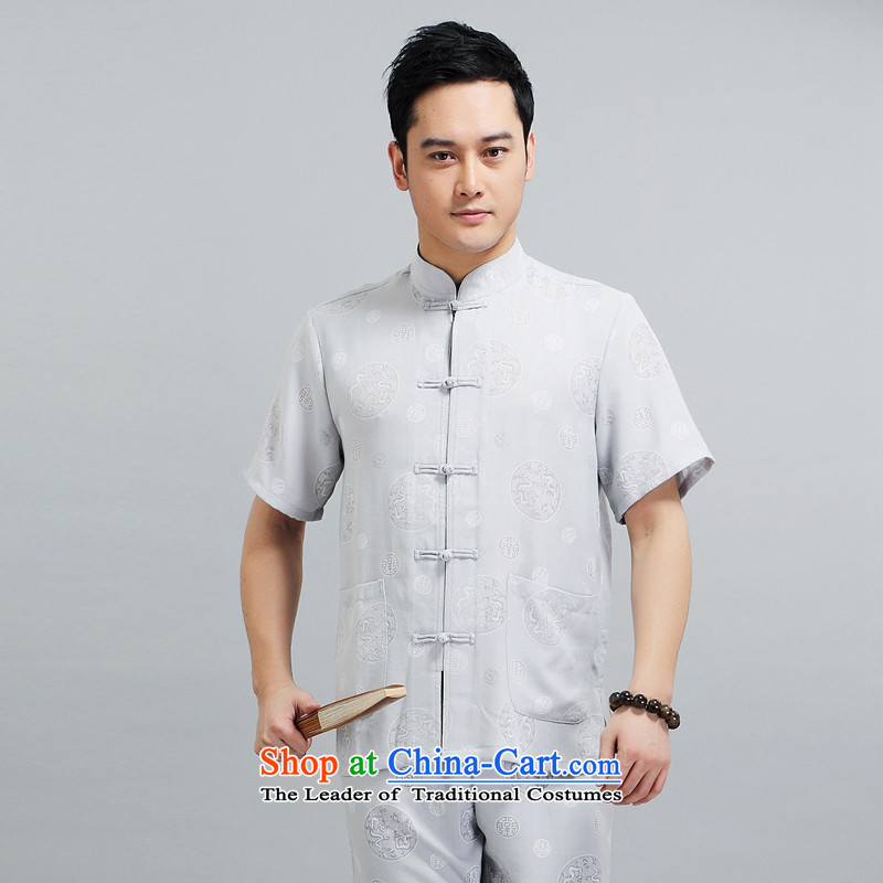 With the Chinese Tang dynasty male short-sleeved new summer 2015 cotton linen Dragon Chinese men's circle of older men summer short-sleeved Tang Dynasty Package gray suit聽XL