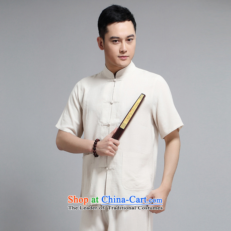 With a Chinese China wind cotton linen men Tang Dynasty Short-Sleeve Mock-Neck Sau San Chinese national costumes disc is older men Tang dynasty casual clothing m Yellow Kit燲XXXL