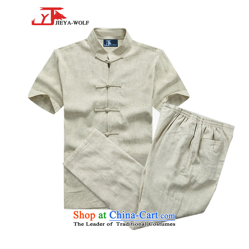 - Wolf JIEYA-WOLF, Tang dynasty men's short-sleeve kit summer linen solid color men Tang dynasty short-sleeve packaged cotton linen, hit the mine-A?185/XXL