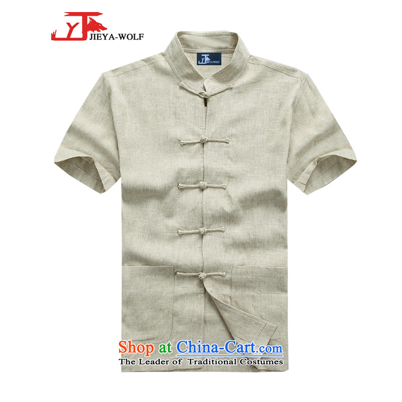 - Wolf JIEYA-WOLF, Tang dynasty men's short-sleeve kit summer linen solid color men Tang dynasty short-sleeve packaged cotton linen, hit the mine-A聽185/XXL,JIEYA-WOLF,,, shopping on the Internet