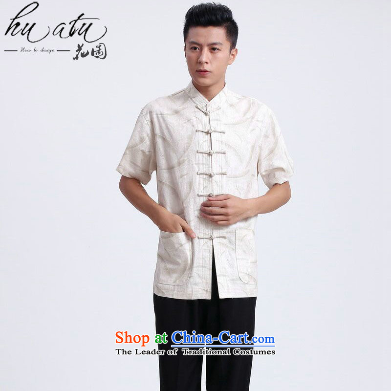 Figure for summer flowers New Men Tang dynasty national men's Chinese clothing improved linen collar Short-Sleeve Men Tang Gown�- 1XL
